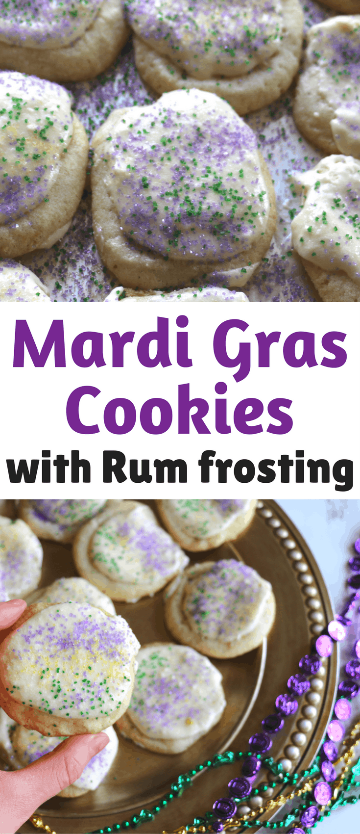 This Easy Mardi Gras Cookies with Rum Frosting recipe is inspired by King Cakes. You'll feel like you're celebrating Fat Tuesday in New Orleans.