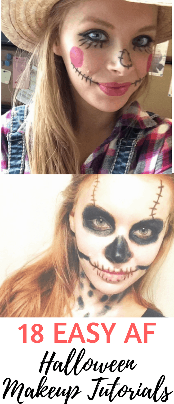 18 Easy, Step-by-Step Halloween Makeup Tutorials for Cheetah, Scarecrow, Zombie, Skeleton, Fairy, Skull, Doll and more for a Last-Minute, Simple Halloween Costume #halloween