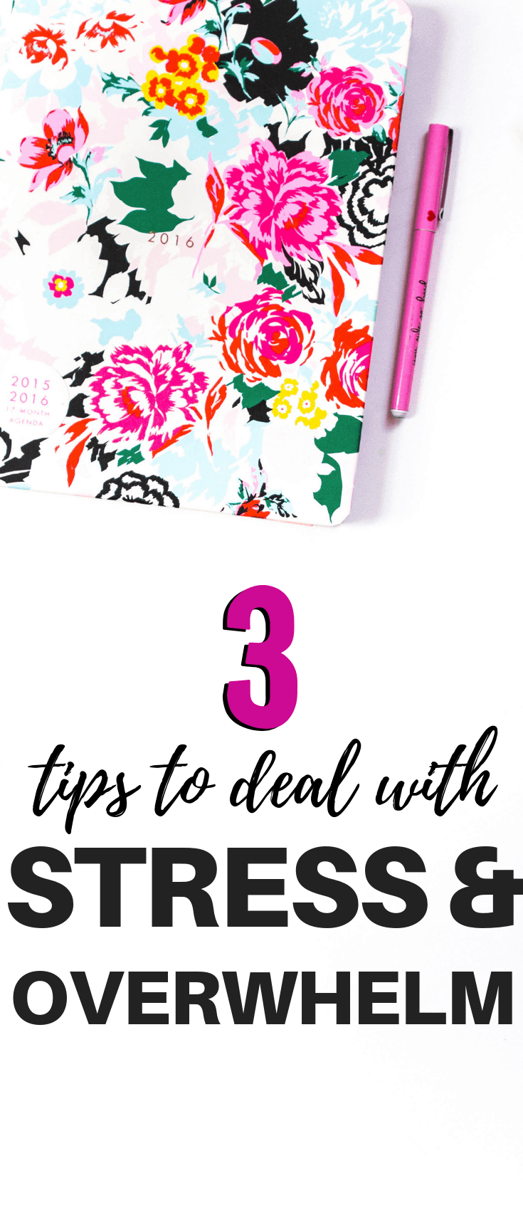 3 Tips to Deal with stress and feeling overwhelmed at work and home. These ideas will help you be more productive and less stressed.
